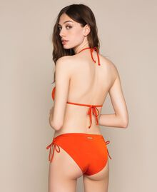 Triangle bikini top with sequins Flirty Rose Print Woman 201LBMC22-03