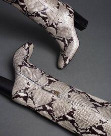 Stivali in pelle con stampa animalier Stampa Pitone Roccia Donna 192TCT010-02