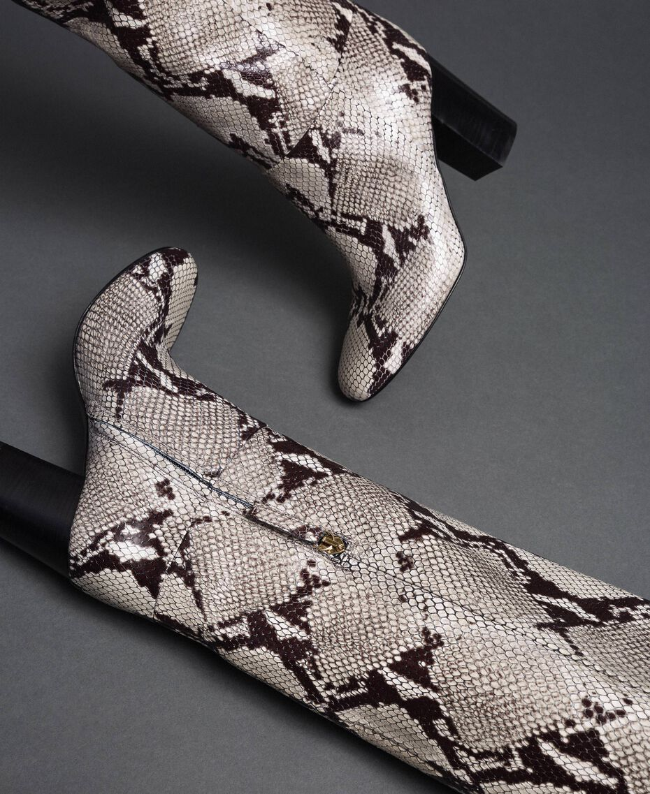 Botas de piel con animal print Estampado Pitón Roca Mujer 192TCT010-02