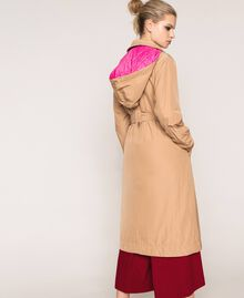 Double breasted taffeta trench coat Light Brown Woman 201ST2072-03