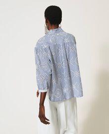 "Poplin shirt with broderie anglaise ""Snow"" White / ""Indigo"" Blue Stripe Broderie Anglaise Woman 211TT2412-04"