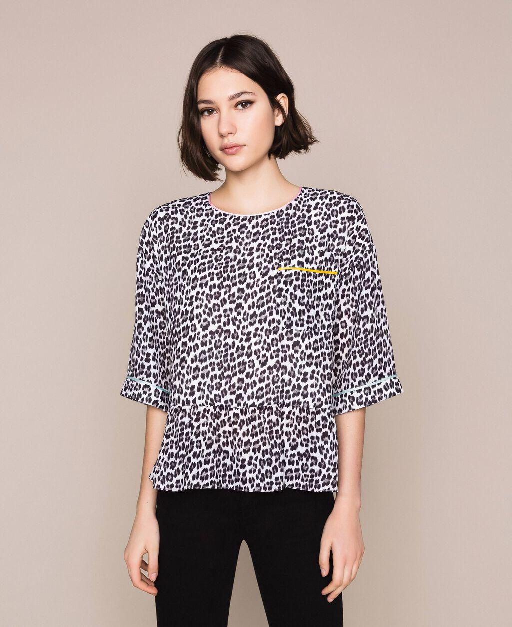 Animal print georgette blouse