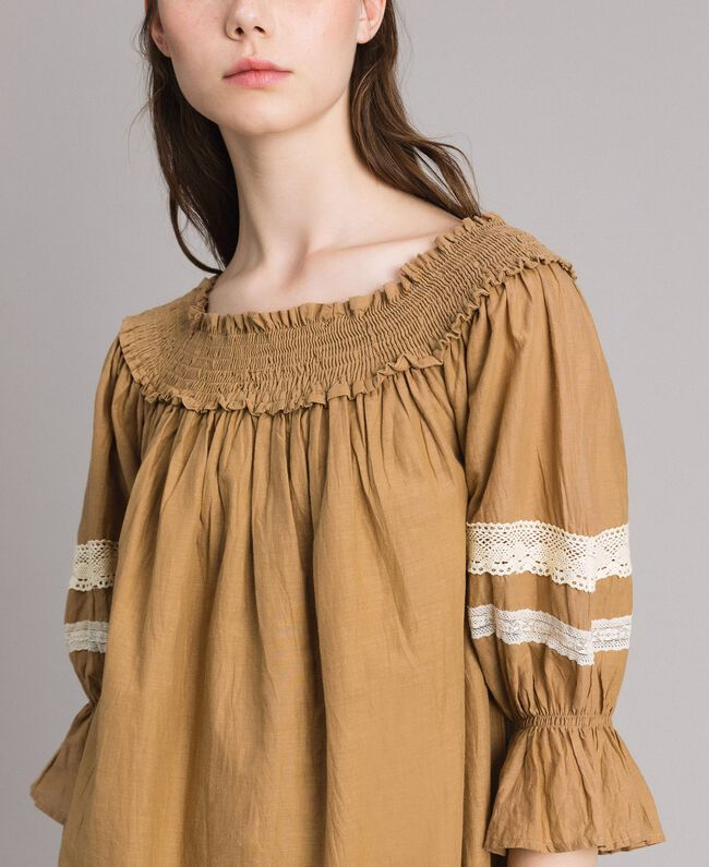 """Voile blouse with broderie anglaise embroidery Two-tone """"Atmosphere"""" Light Blue / Ecru Woman 191ST2111-04"""