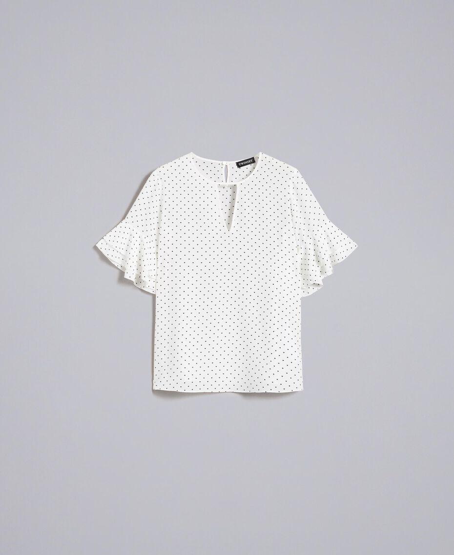 Blouse en soie avec petits cœurs Imprimé Cœurs Blanc Neige/ Noir Femme PA82N3-0S