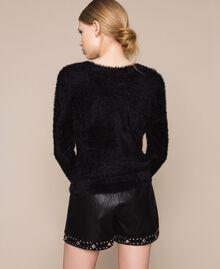 Maglia-cardigan in filato effetto pelliccia Nero Donna 201TP3091-06