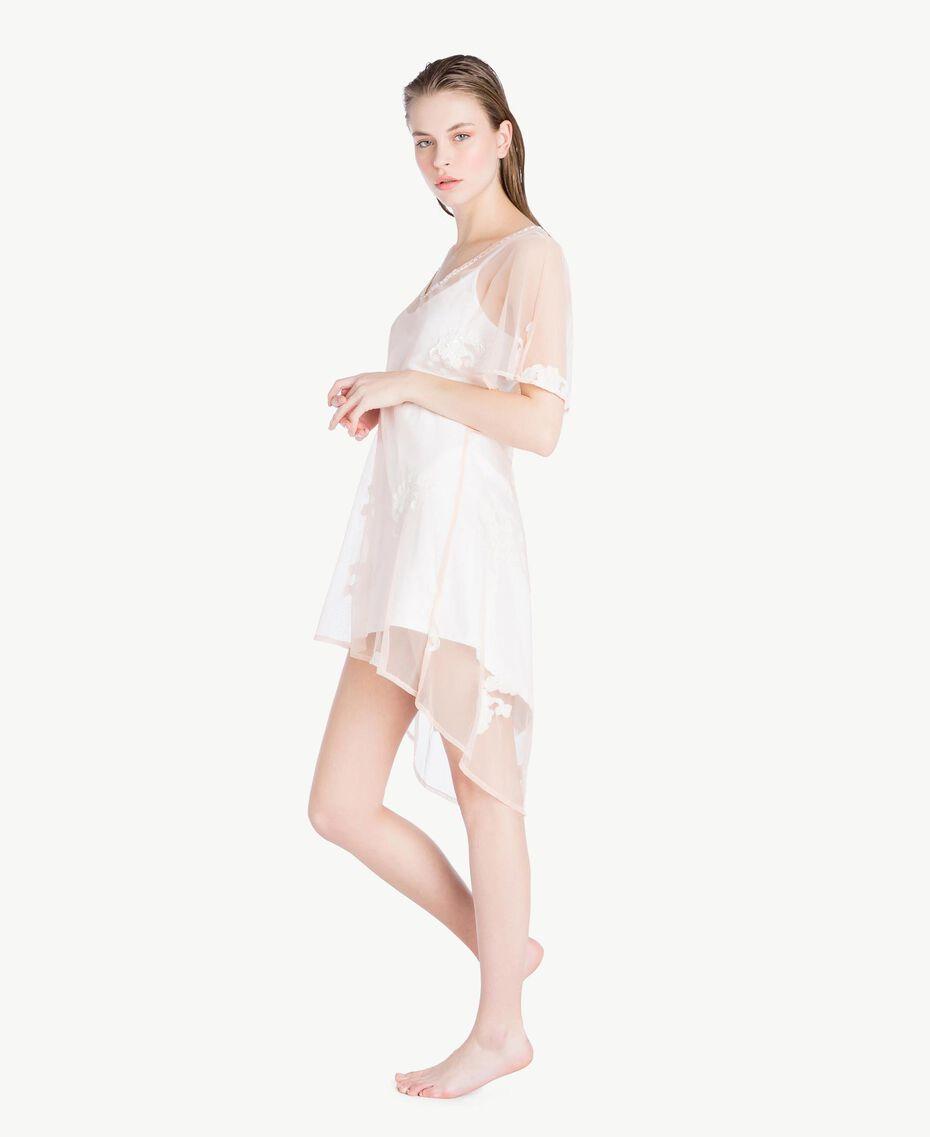 Kleid mit Stickerei Elfenbein Frau MS8BHH-03