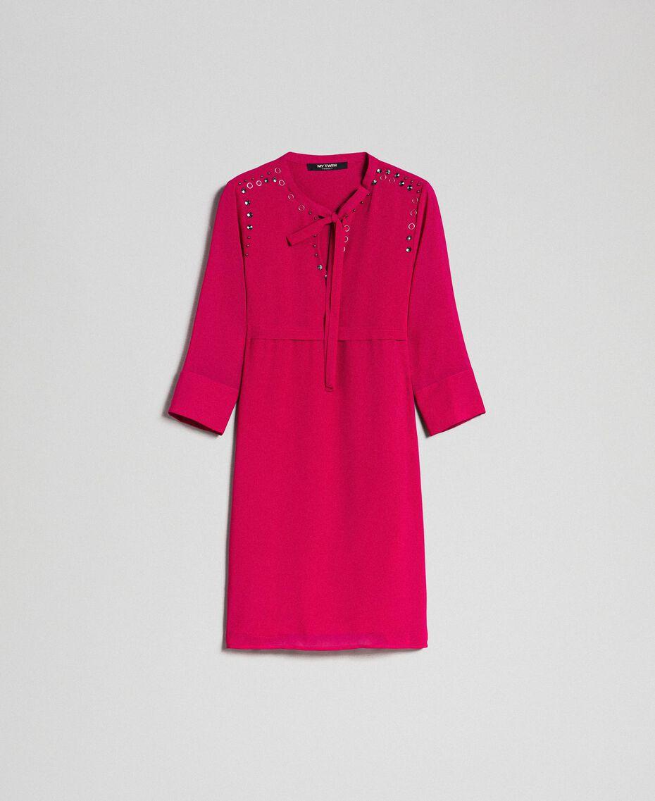 Georgettekleid mit Steinchen und Perlen Rot Amaranth Frau 192MP2480-0S