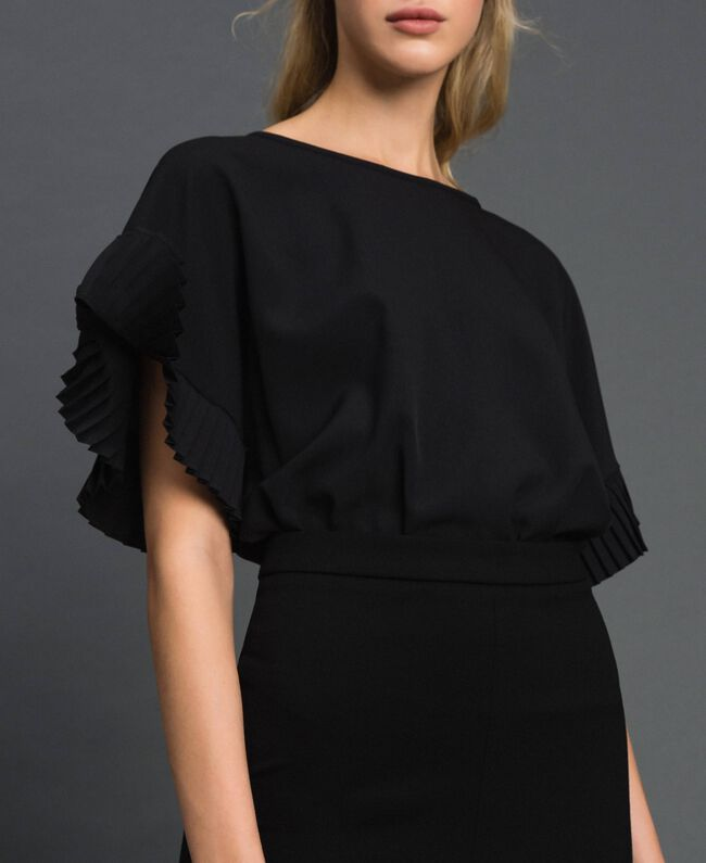 Robe mi-longue fendue Noir Femme 192TT2083-04