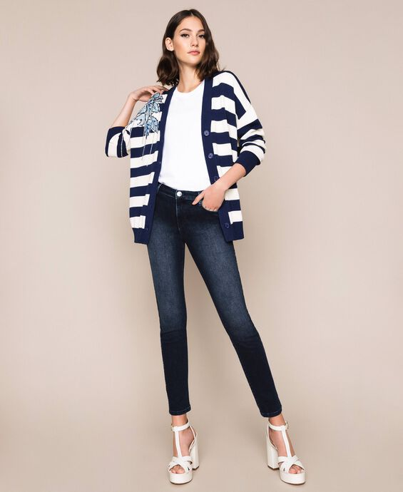 Cardigan with floral patches and embroideries