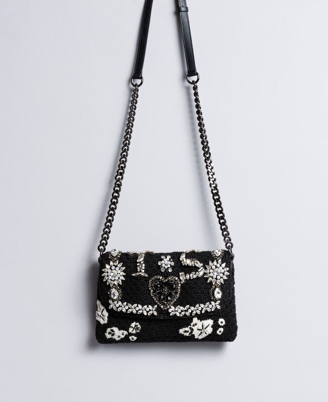Crocheted shoulder bag with patch Black Woman AA8PJ1-01