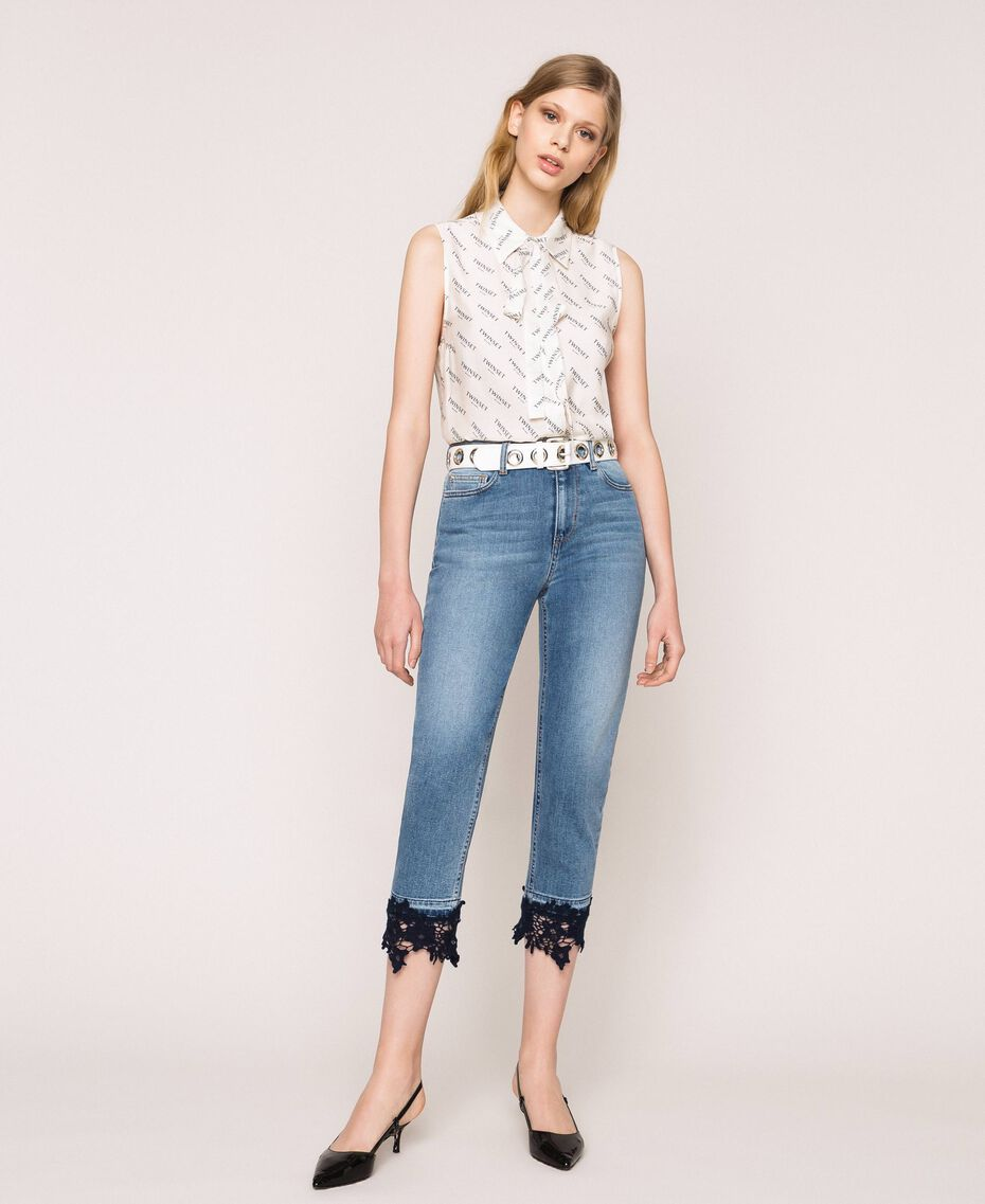 Jeans cropped con pizzo Denim Blue Donna 201MP227G-01