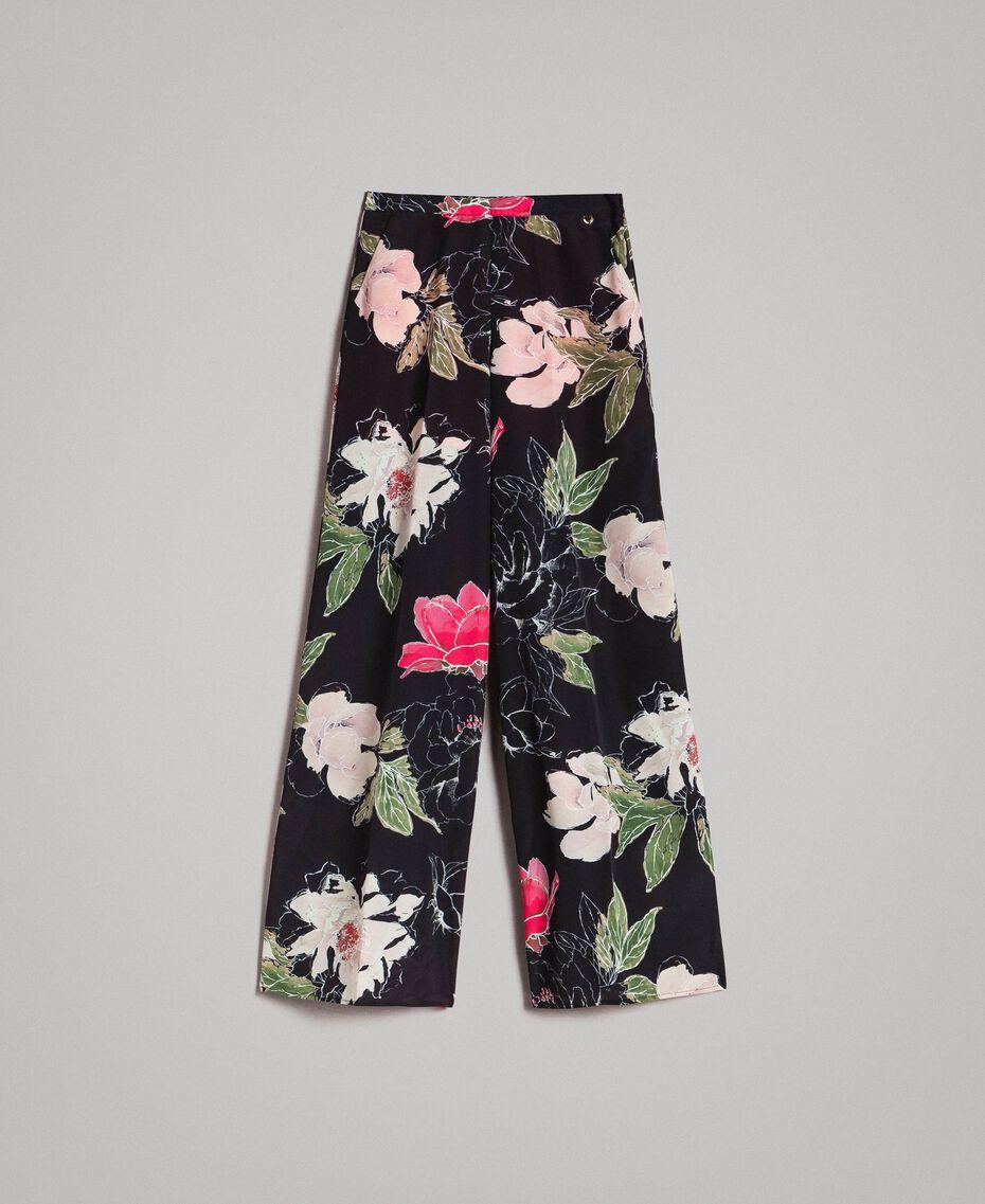 Pantalon en crêpe de Chine à imprimé floral Imprimé Fleur Noir Total Femme 191MT2212-0S