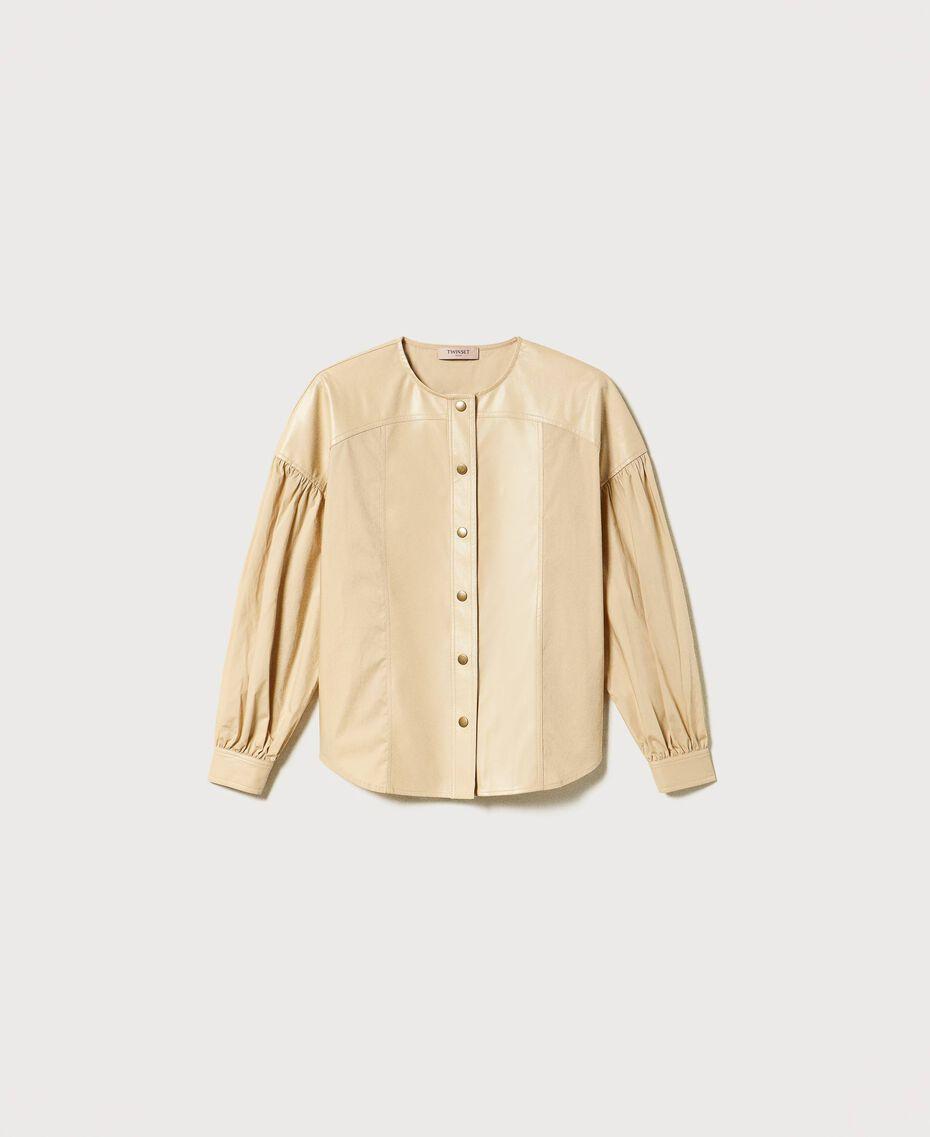 "Poplin shirt with inserts ""Cuban Sand"" Pink Woman 211TT2491-0S"