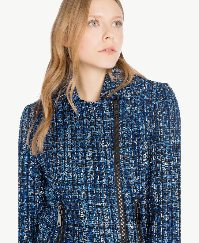 Bouclé biker jacket Multicolour Lapis Blue Woman JS82MC-04