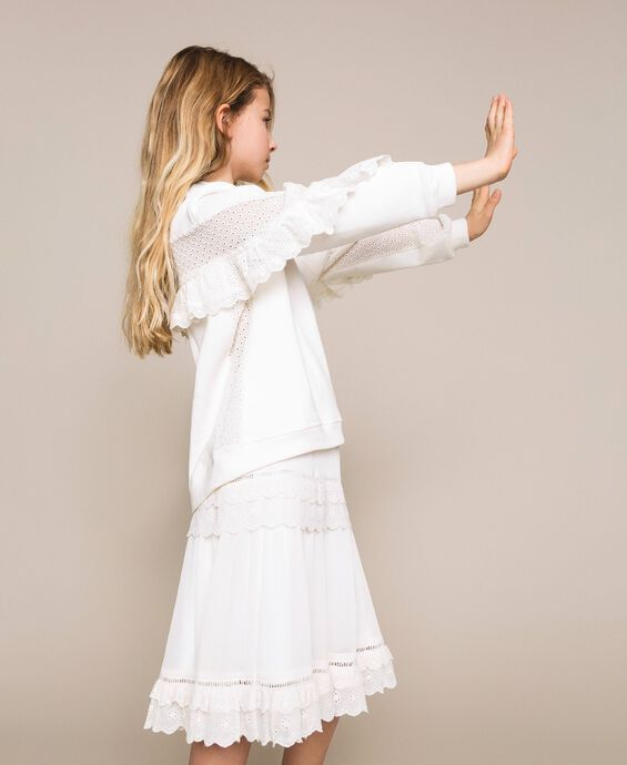 Sweatshirt with broderie anglaise inlay and frill