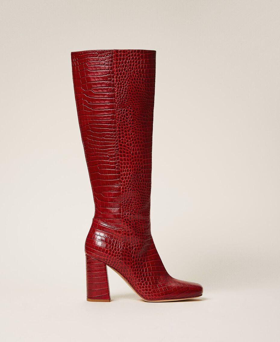 Stiefel aus Leder in Kroko-Optik Krokoprägung Kirschrot Frau 202TCP07C-01