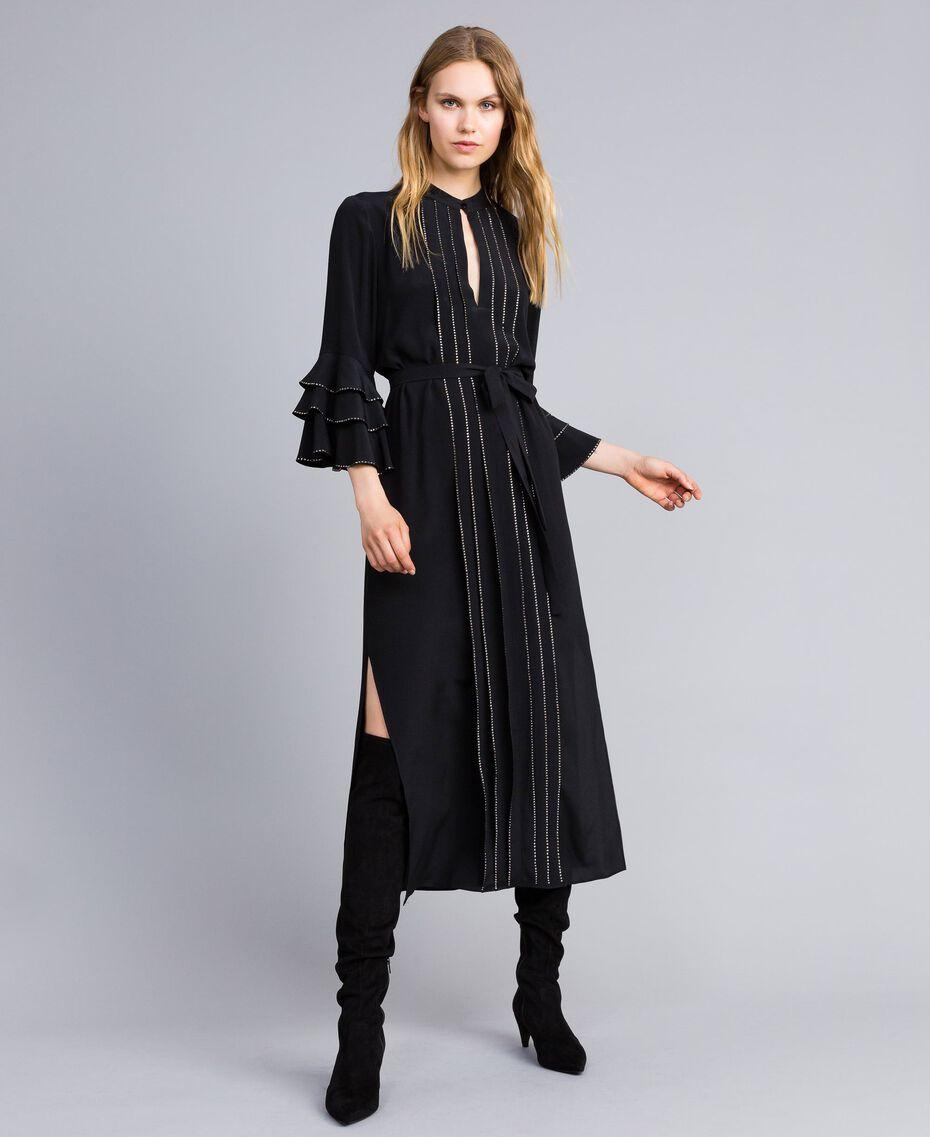 Long silk blend dress with rhinestones Black Woman TA8233-05