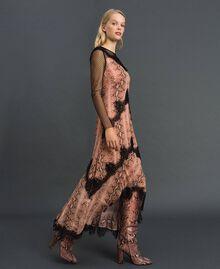 Animal print georgette long dress Canyon Pink Python Print Woman 192TT2271-04