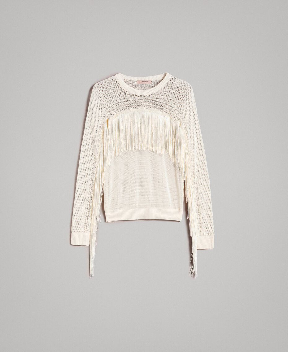Mesh and lace stitch fringed jumper Ecrù Woman 191TT3063-0S
