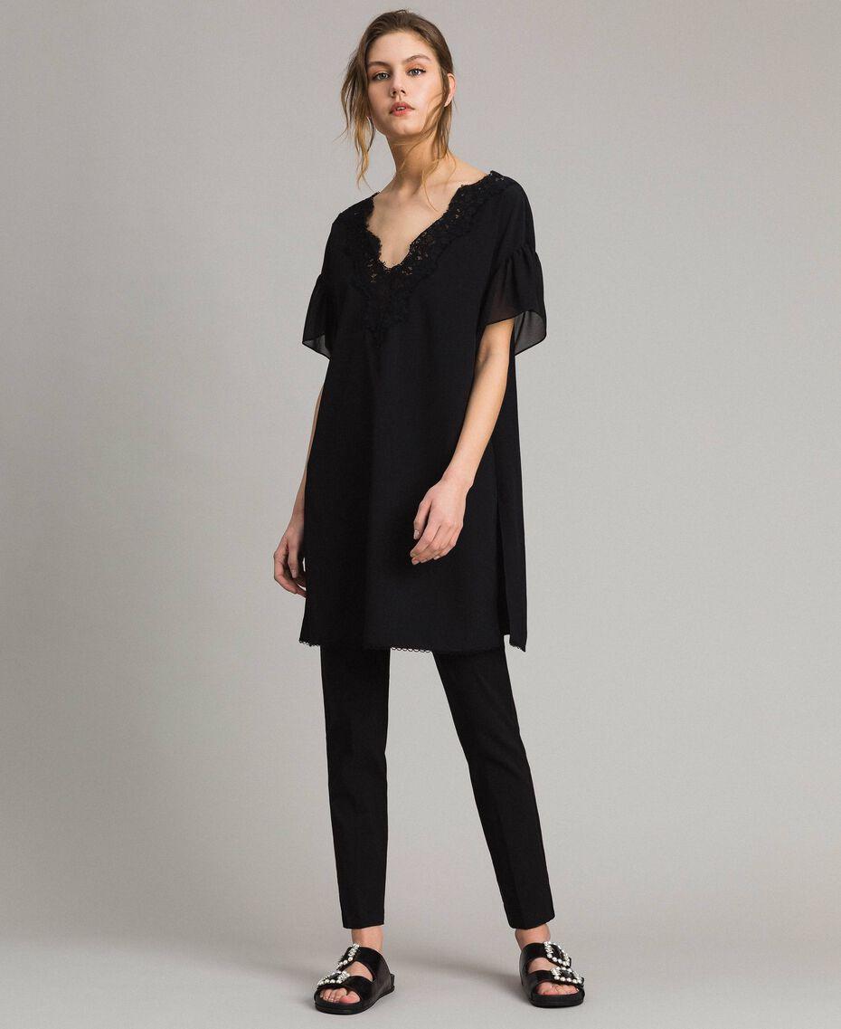 Robe tunique en crêpe de Chine et dentelle Noir Femme 191ST2063-01