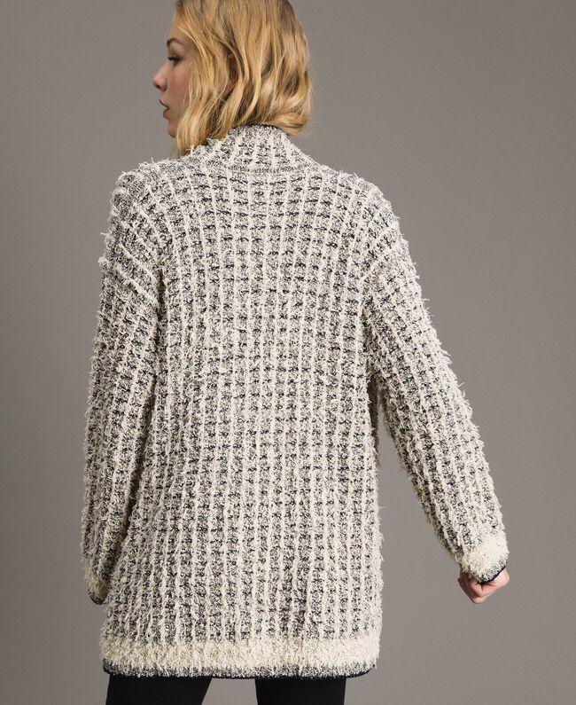 Lurex yarn maxi mandarin collar cardigan Two-tone Ecru Vrillé Woman 191TP3321-03