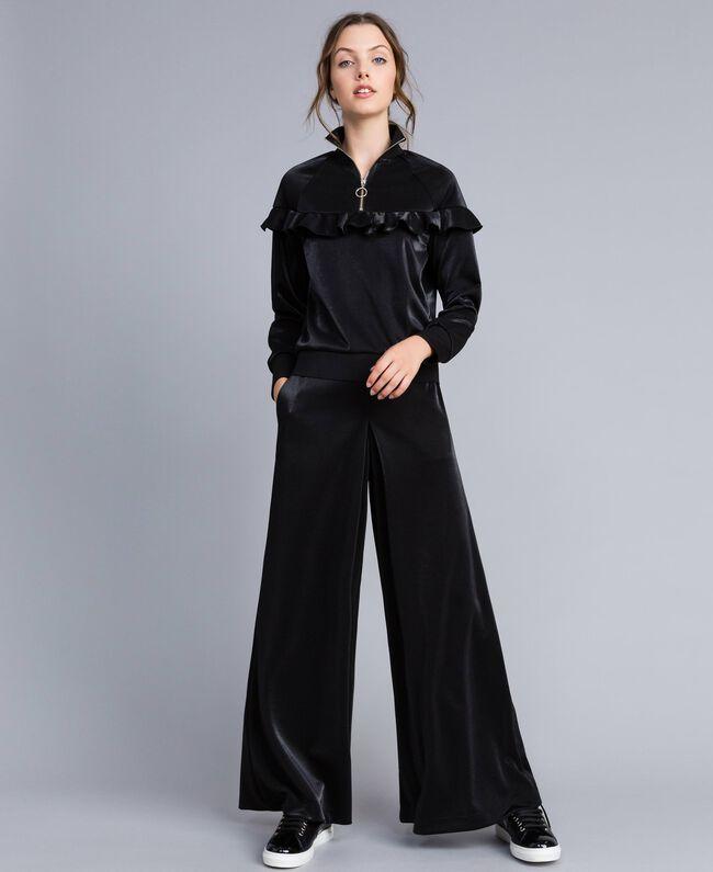 Pantaloni palazzo in tessuto tecnico Nero Donna IA85CC-01