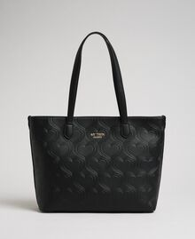 Borsa shopper in similpelle stampa cuori Nero Donna 192MA7010-02