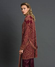 """Jacquard mohair and wool maxi cardigan """"Sequoia"""" Beige Jacquard / Red Earth Woman 192ST3130-04"""