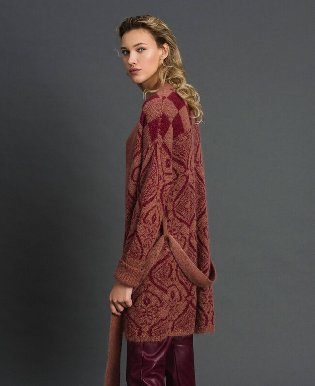 Maxi cardigan en laine et mohair jacquard Jacquard Beige «Séquoia» / Terre Battue Femme 192ST3130-04