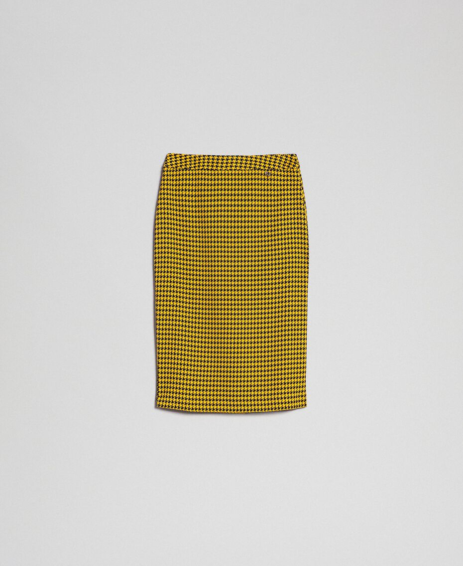 Gonna longuette in pied-de-poule Pied De Poule Giallo / Nero Donna 192MT2053-0S