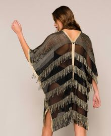 Lurex knit poncho with fringes Two-tone Gold / Black Woman 201LB49FF-04