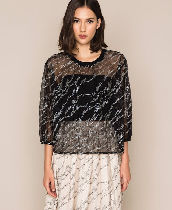 Tulle blouse with embroidered logo