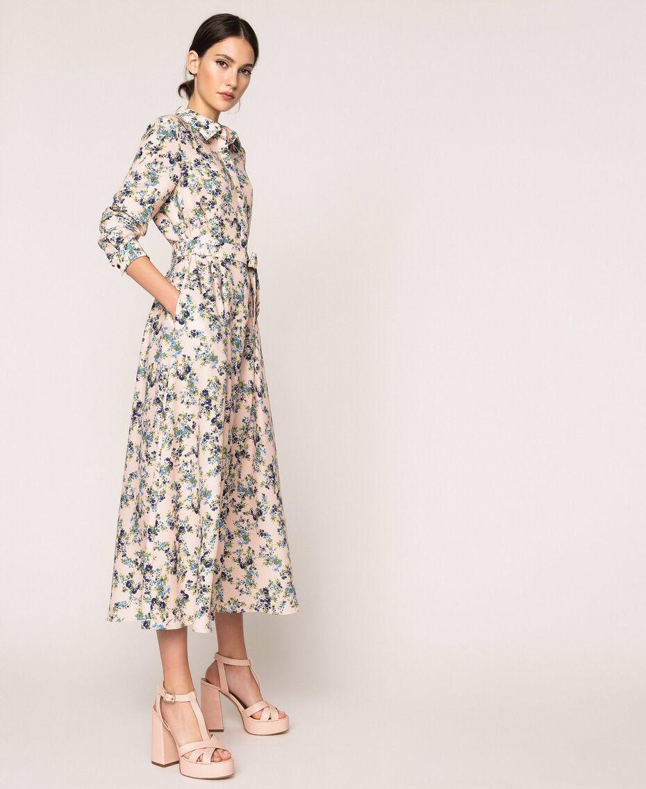 "Long floral shirt dress ""Quartz"" Pink Flowered Print Woman 201MP2371-02"
