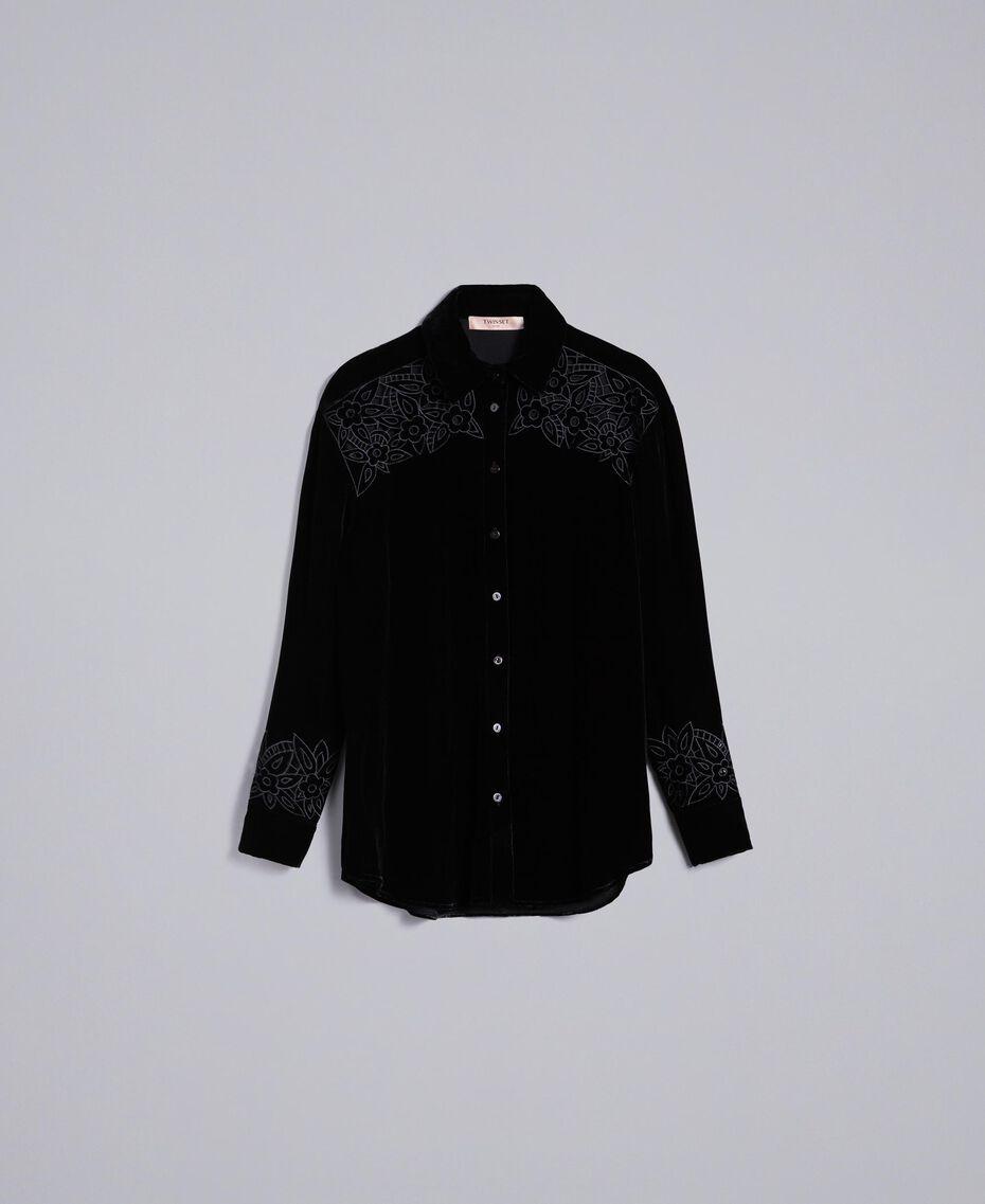Camicia in velluto con ricami Nero Donna PA823H-0S