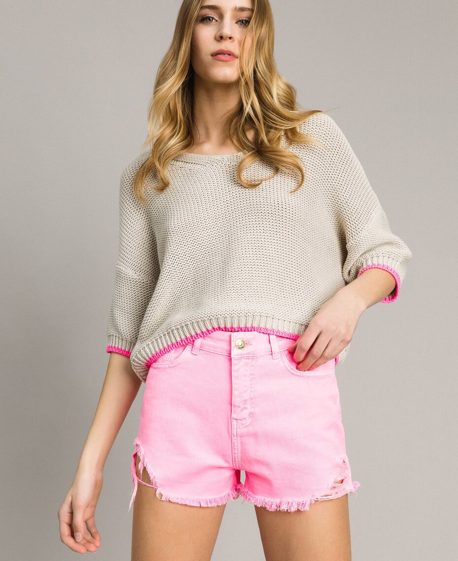 """V-neck jumper with contrast trims """"Milkway"""" Beige Woman 191LL37NN-01"""