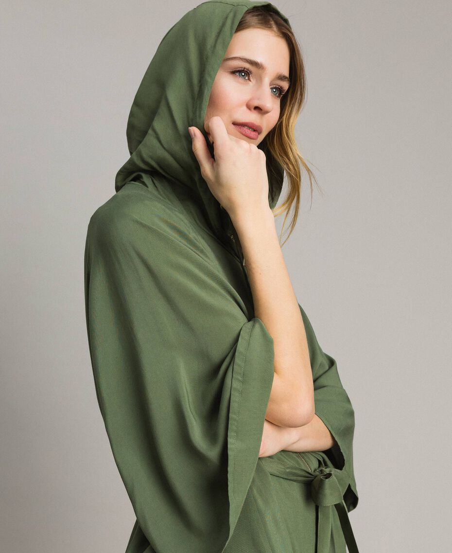 "Hooded cape ""Cactus"" Green Woman 191MT2311-05"