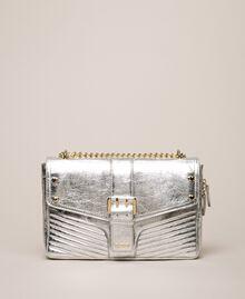 Medium Rebel leather shoulder bag Titanium Gray Woman 999TA7233-01