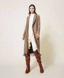 Manteau en drap jacquard animalier Jacquard Animalier Beige Noisette / Tabac Femme 202TT213A-03