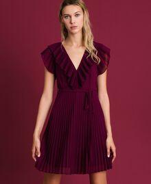 Robe en crêpe georgette plissé Rouge Velours Femme 192TT2071-02