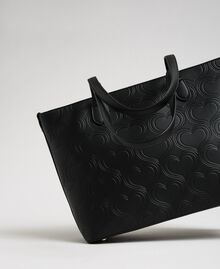 Borsa shopper in similpelle stampa cuori Nero Donna 192MA7010-03