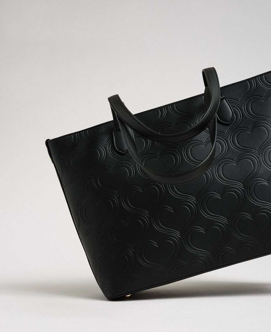 Faux leather heart print shopping bag Black Woman 192MA7010-03