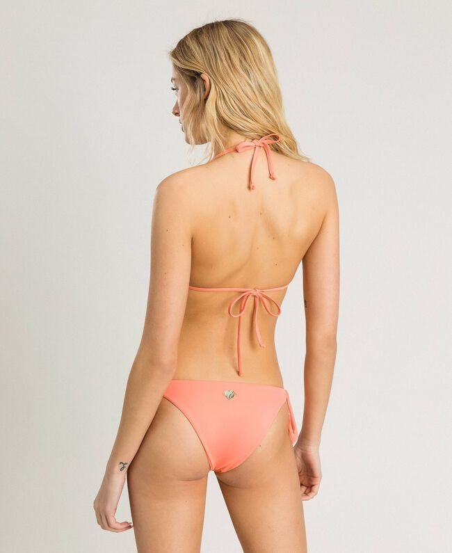"""Triangle bikini top with stripes and sequins Pink / """"Tangerine Cream"""" Pink Multicolour Striping Woman 191LBMA33-03"""