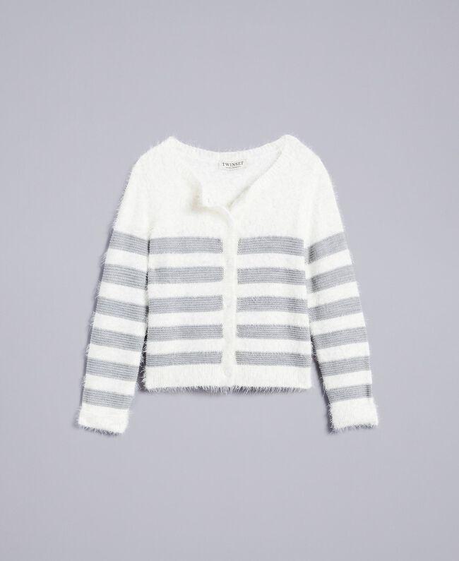 "Wool blend striped cardigan Bicolour Off White / ""Stone"" Grey Child GA83E2-01"