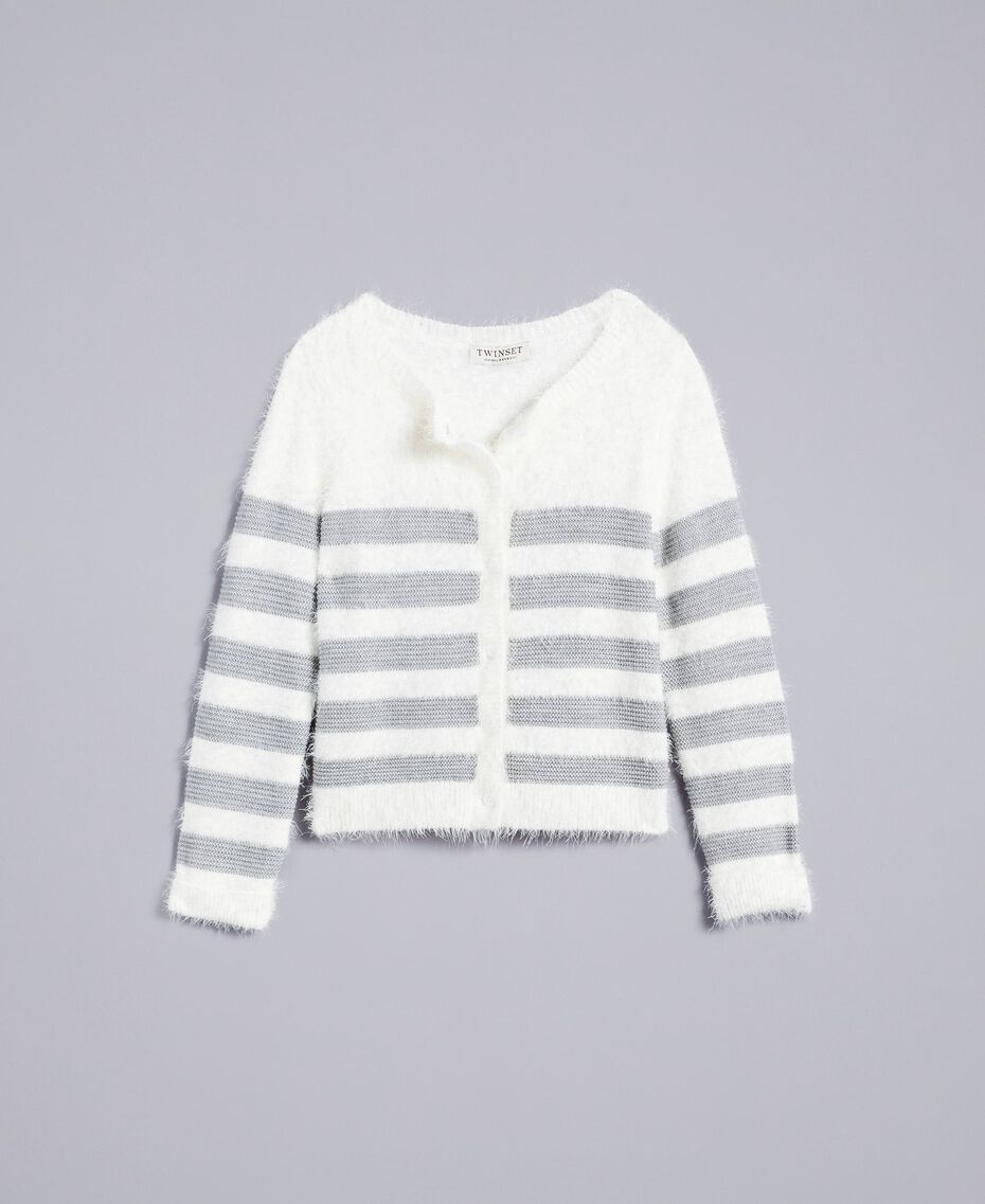 "Wool blend striped cardigan Bicolour Off White / ""Stone"" Grey Child GA83E2-01"