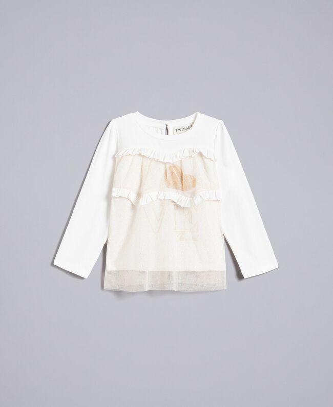 Bluse aus Jersey und Tüll Zweifarbig Weiß / Goldlurex Kind FA82L1-01