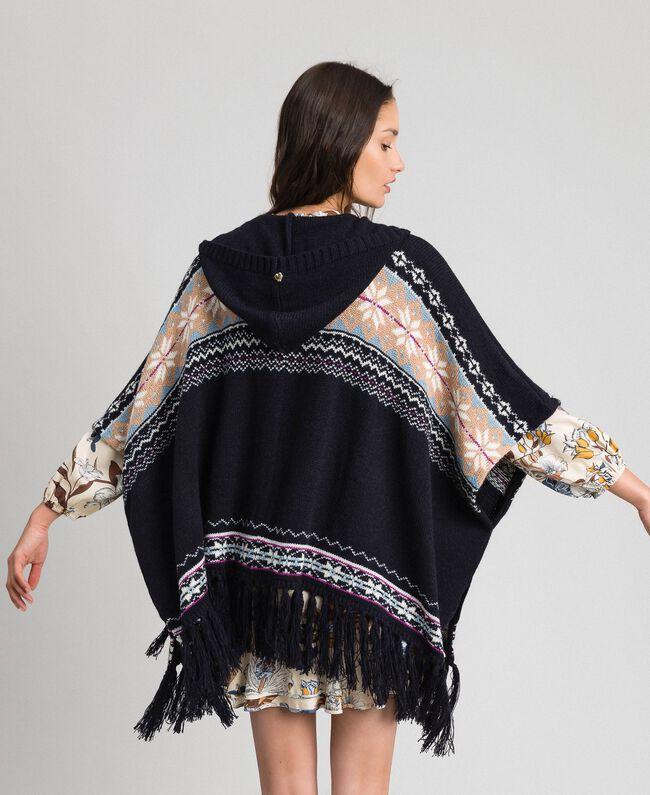 Alpaca jacquard blend poncho Indigo Woman 192MT3082-03