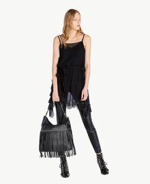Faux leather leggings Black Woman PS82GA-05