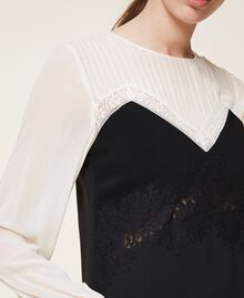 Two-tone dress with lace Two-tone Cream White / Black Woman 202TP2311-04
