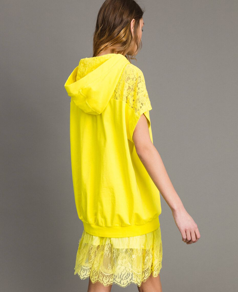 Maxi sweatshirt with hood and lace Fluorescent Yellow Woman 191MT2340-03