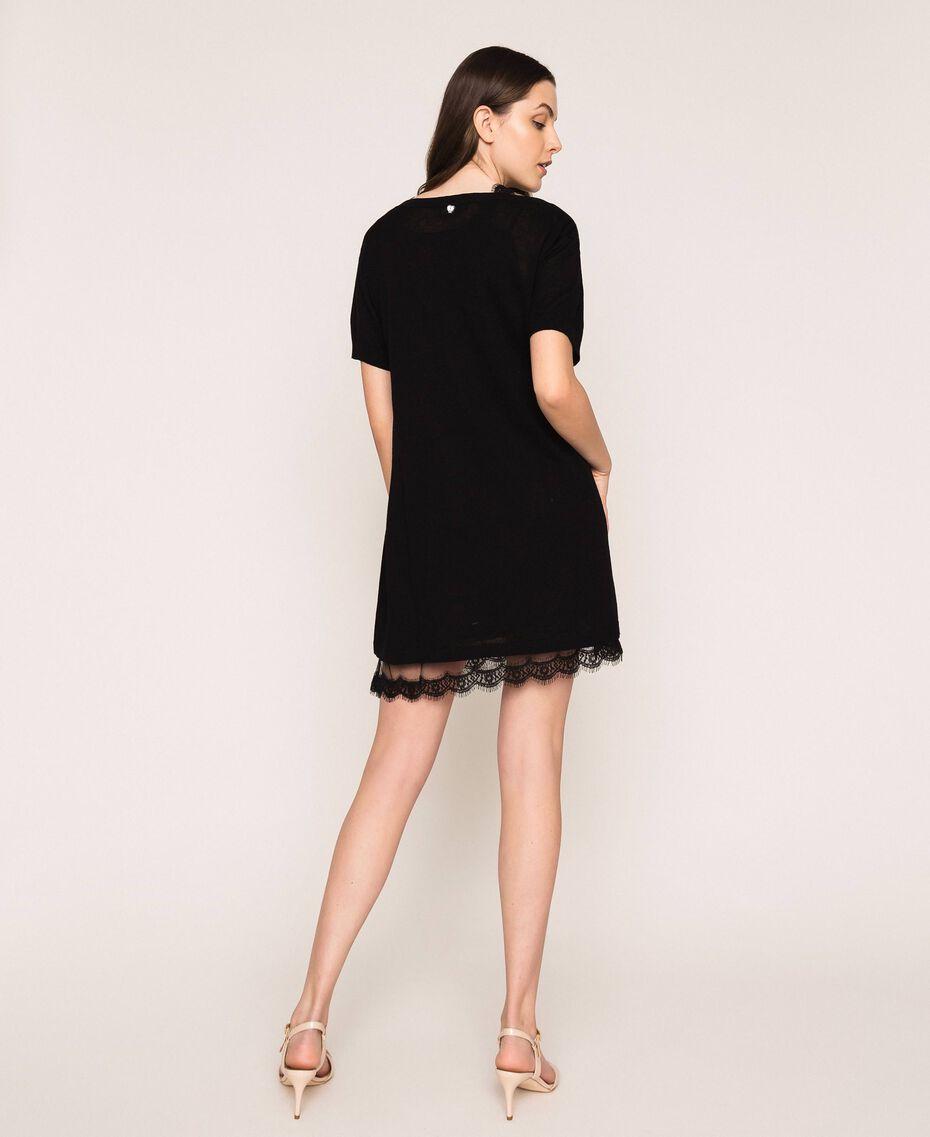 Minivestido de lino mixto con combinación Negro Mujer 201MT3021-03